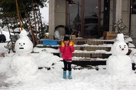 子供達への雪だるま
